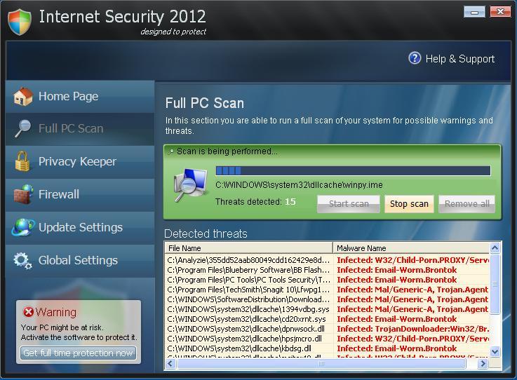 screen shot of internet security 2012 program