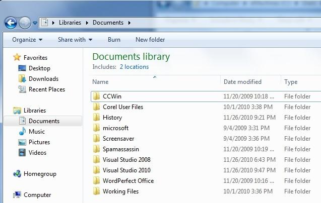 libraries in windows 7
