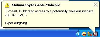 malwarebytes blocked access to potentially malicious  website