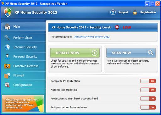 bogus anti spy program xp home security 2012